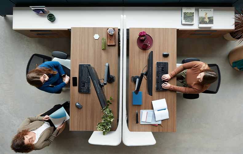 Bird's eye view of colleagues working from desks in office