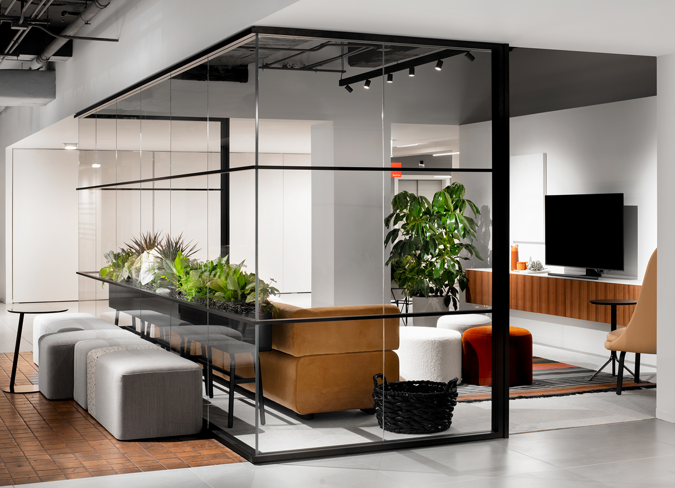 NeoCon lounge with glass walls