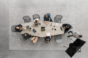 Bird's eye view of meeting at large table