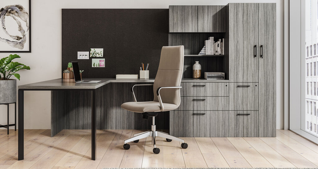 Private office space with storage and L-shaped desk
