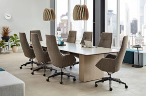 Meeting room in neutral tones with accent lighting