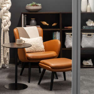 Accent orange leather chair in private space