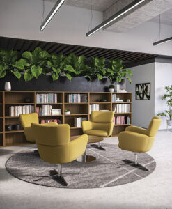Yellow accent chairs in circle in reading lounge