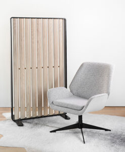 Simple light grey chair with accent room divider