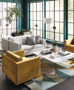 Lounge living room with yellow accent chairs