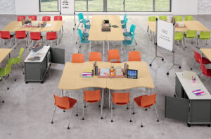 Wide view of collaboration tables with colourful chairs