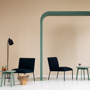 Seating area with green arch accent