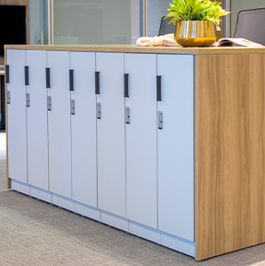 Close-up of office lockers