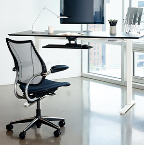 Ergonomic desk workspace with stand-up desk and specialty keyboard stand