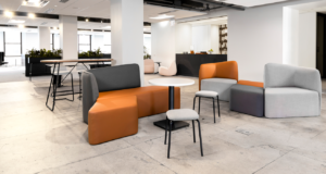Wide view of modular seating in lounge/workspace