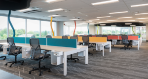 Open concept colourful office