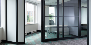 View of private office with glass wall
