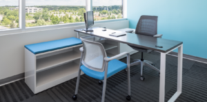 Private meeting desk with two chairs