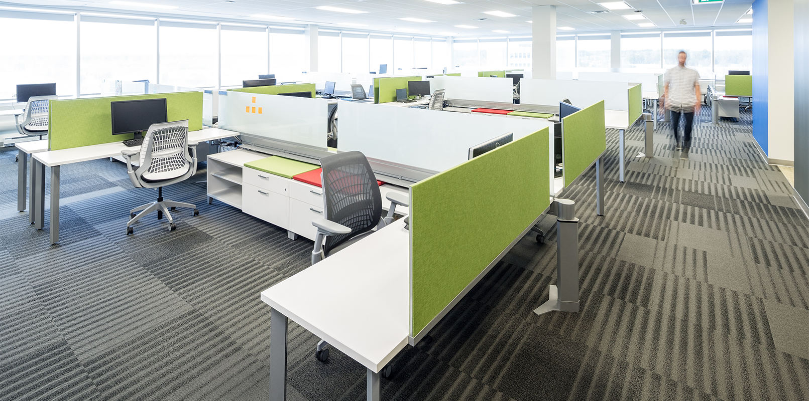 Open concept office space with accent colour dividers