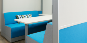 Close up view of private meeting booth with blue