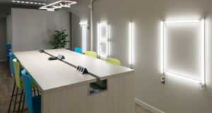 Meeting desk with accent neon lighting on back wall